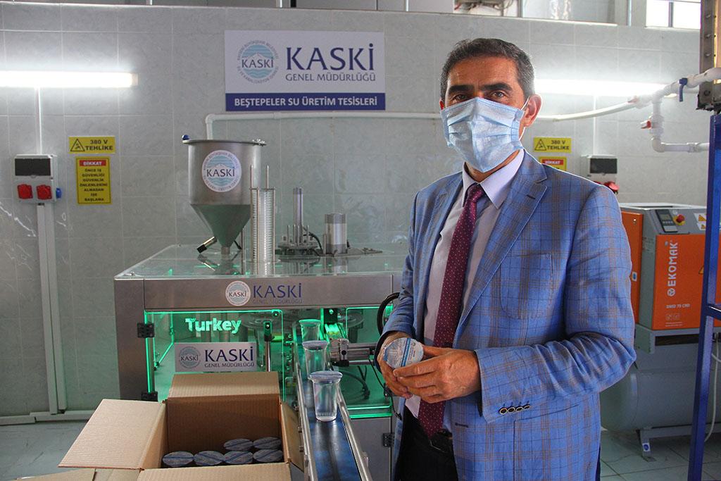 Kayseri'de Kovid-19 hastalarının ihtiyacını karşılamak için su paketleme tesisi kuruldu...