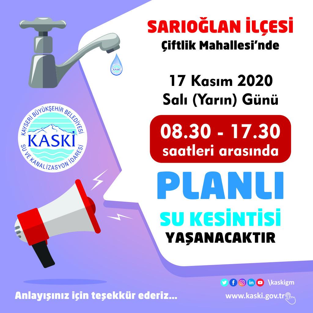 SARIOĞLAN İLÇESİ - Çiftlik Mahallesi'nde Planlı Su Kesintisi...