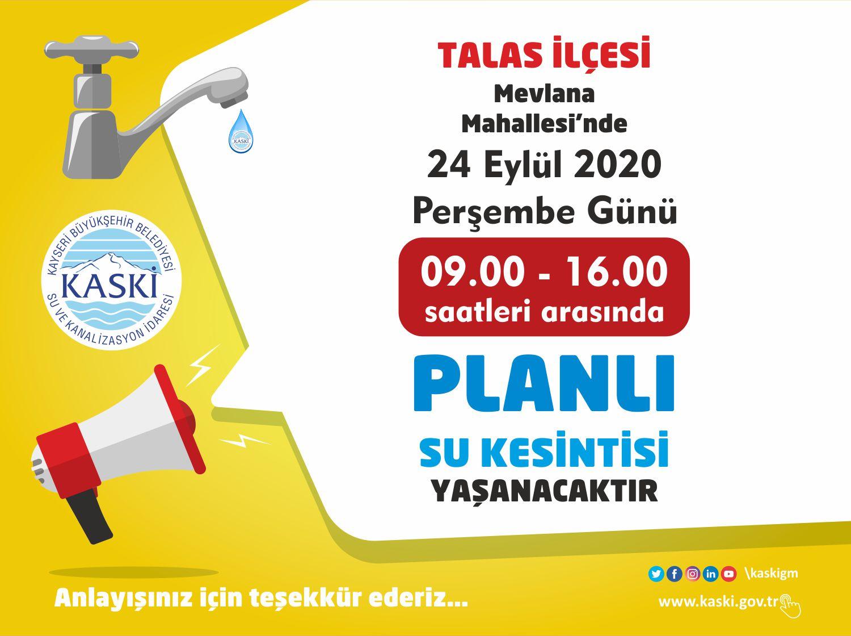 TALAS İLÇESİ - Mevlana Mahallesi'nde Planlı Su Kesintisi...